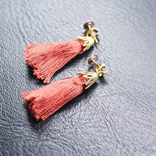 [Da Da Daily] Orange and red tassel gold earrings