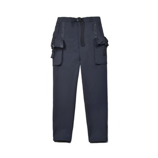 oqLiq - Display in the lost - Function Roll-up Multi-pocket Trousers (Black)