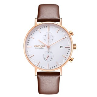 [Vintique] chronograph watch minimalist design sapphire glass rose gold stainless steel case leather strap CH-WR03