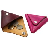 義大利植韖革三角零錢包/可訂作-褐琥珀