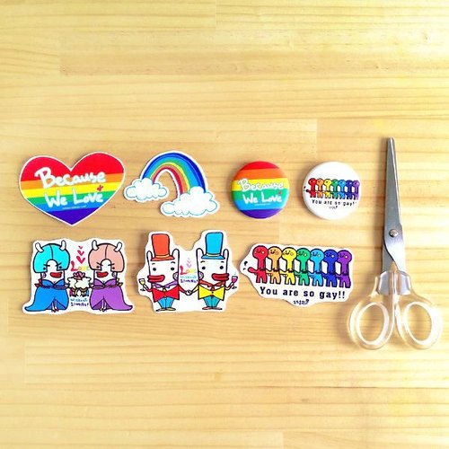 212 design fun funny stickers everywhere waterproof stickers - stickers Rainbow group composition