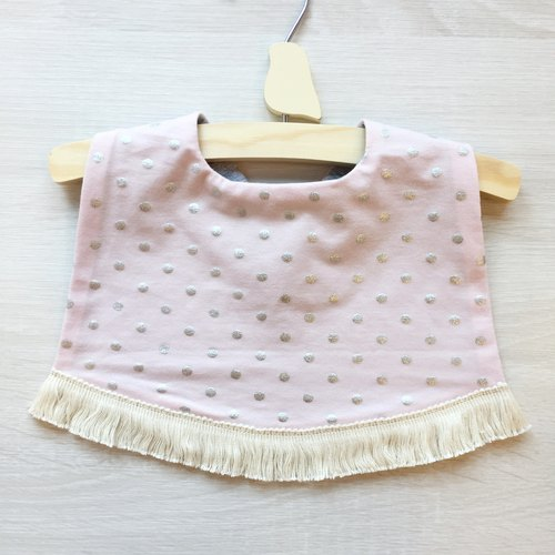 Dotted tassel bib (powder)
