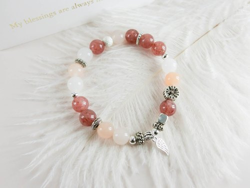 Classical pink natural stone beaded silver bracelet │ pink white Yue unicorn 925 sterling silver Tibetan silver strawberry crystal gift