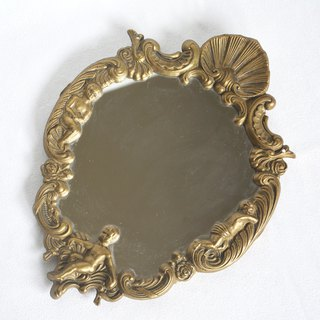 Early German junk metal three-dimensional carved frame hanging mirror