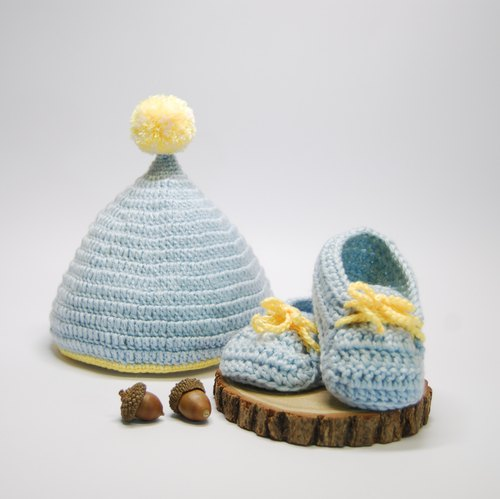 ◆ Mori Studio ◆ gift box group / BABY shoes + chestnut ball / light blue / Japanese baby special yarn