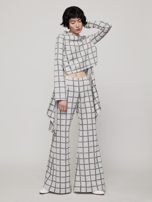Knitted long pants (gray checkered / black and white)