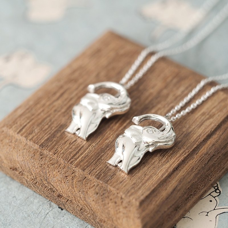 2 set) Elephant pair Necklace Silver 925