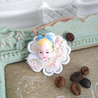 Garohands American antique doll head imported lace ribbon handle pin * Anne paragraph F054 sweet gift