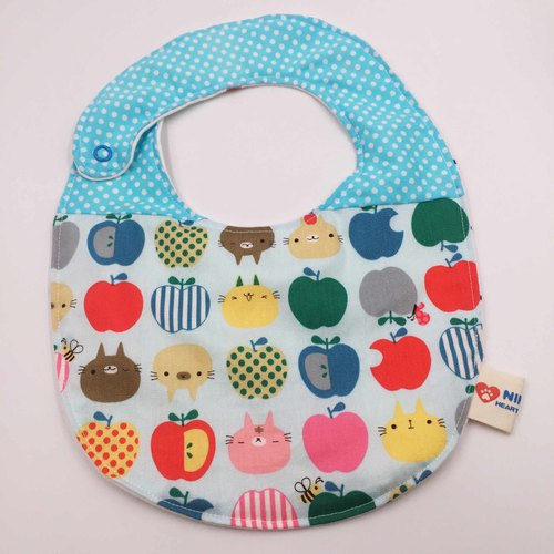 Blue apple cat stitching bib double gauze towel design