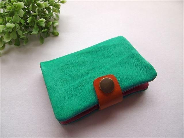 Pig leather soft card case [hand-dyed leather] 167009