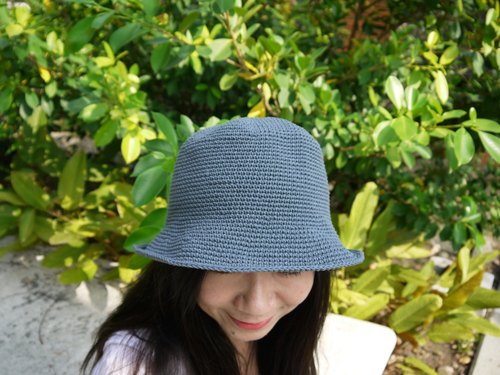 Mama の hand made hat - Summer cotton rope hat - retro square hat / iron blue and gray / Mother's Day / picnic / outing