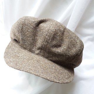 Brown gray point soft newspaper beanie