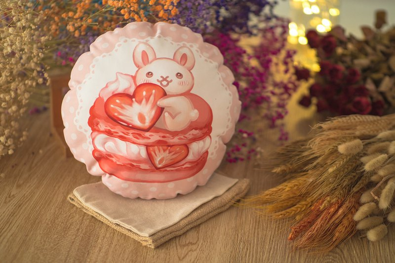 QQ double-sided pillow - macarons rabbit - strawberry
