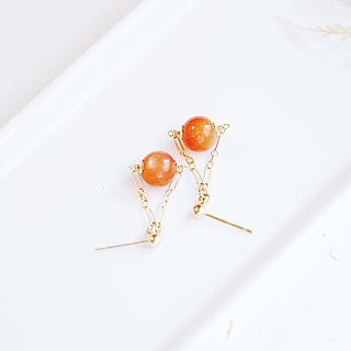 Full Jinsha Strong Halo Orange Moonstone 14K GF Earrings Shining Natural Stone Orange Color Simple