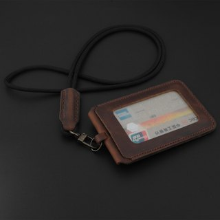 Manual vegetable tanned leather Halter ID card holder ID card access card set Easy card subway card bus card credit card Handmade free printing personal English name