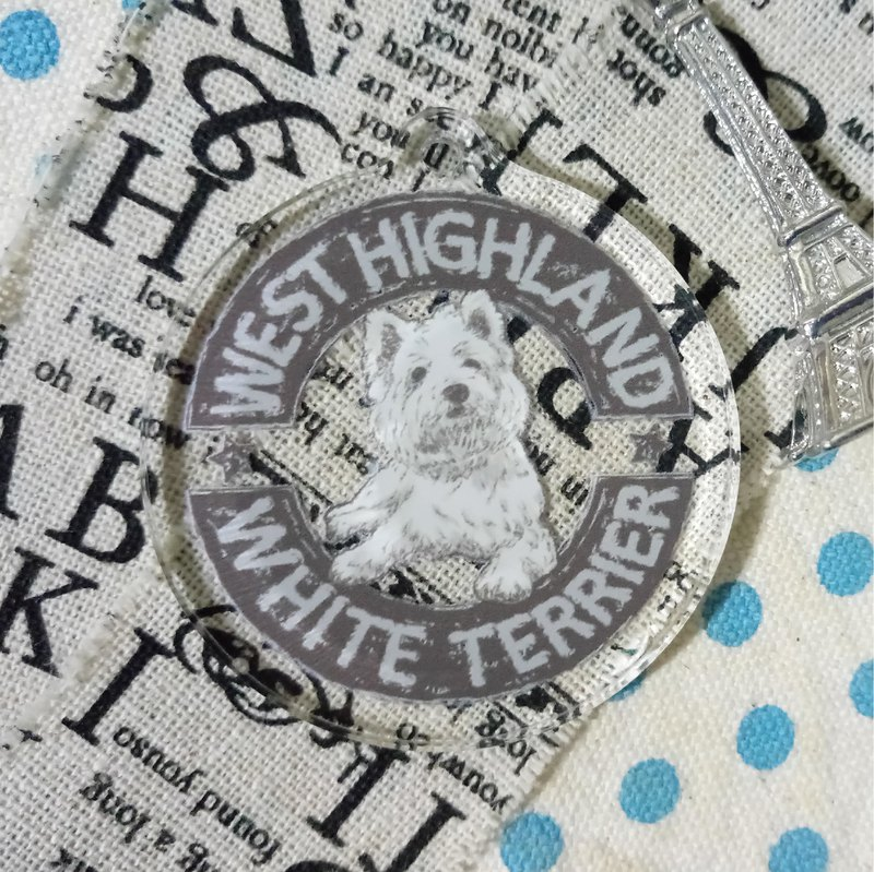 Sketch LOGO- West Highland White Terrier ~ Acrylic Charm (excluding key ring)