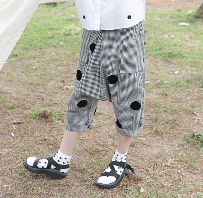 Black and white grid nine casual pants - imakokoni
