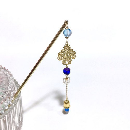 """Royal Sapphire"" irises & lilies of the valley. Natural pearl. Antique blue crystal. Palace style hairpin."