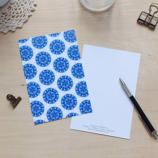 Twelve petals blue and white pattern postcard
