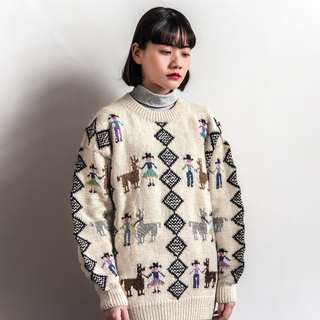 Vintage Alpaca and Man Totem Ancient Sweater