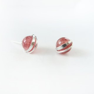 925 sterling silver exclusive bright natural strawberry crystal earrings pair