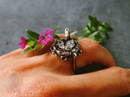 │ Dreams │ Herkimer Crystal Herkimer Diamond / Silver (vulcanization) / Brass handmade sterling silver ring