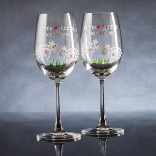 My Crystal Red Wine Glasses - Sheep ( including engraved names & date )