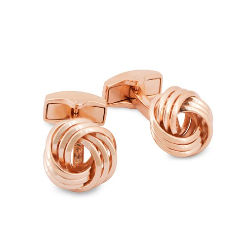 Wire Knot Cufflinks in Rose Gold