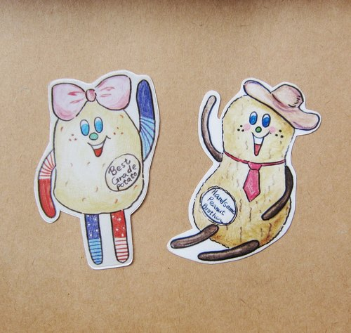 Hand-painted illustration style completely waterproof sticker potato girlfriend peanut boyfriend