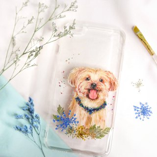 Tailor-made Hand-drawn Pet Pressed Flower Phone Case | Yorkshire Terrier / Dog