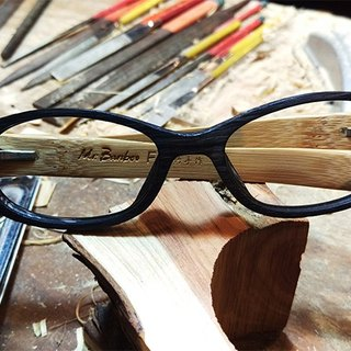 Mr.Banboo F series [met emerald green with a temperature of bamboo story] Taiwan handmade glasses