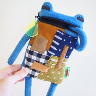 E * group A frog saliva Patchwork bag (blue and gray) iphone6 ​​+. I7 + cell phone pocket