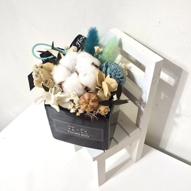 /Dry flowers//Arrangement/Bear cotton flower pot