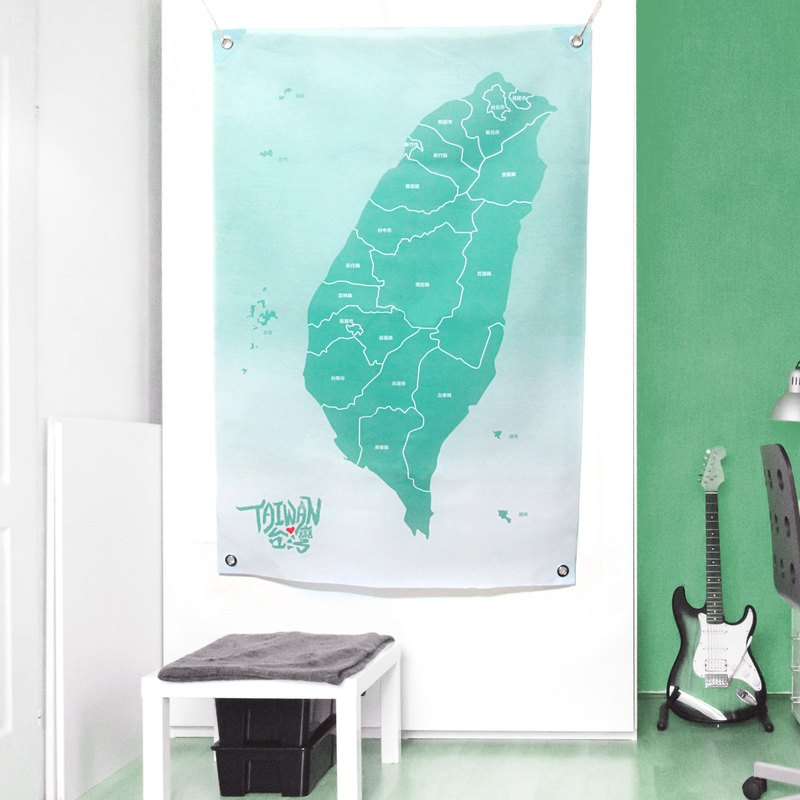 Taiwan map wall decoration cloth watercolor green