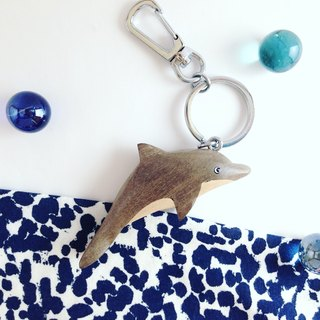 Marine Series*Dolphin*Handmade wooden key ring / strap