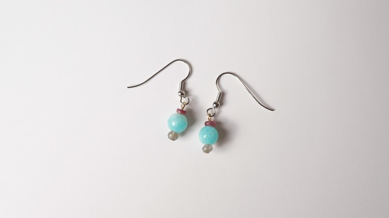 [Watermelon] sweet and not sweet natural stone earrings hand-made X