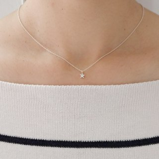 Tiny Star Necklace with CZ Diamond ,Sterling Silver