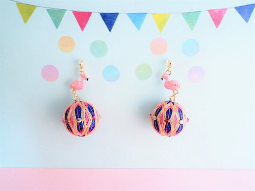 tachibanaya Flamingo Ball japanese TEMARI earrings pink blue yellow spring