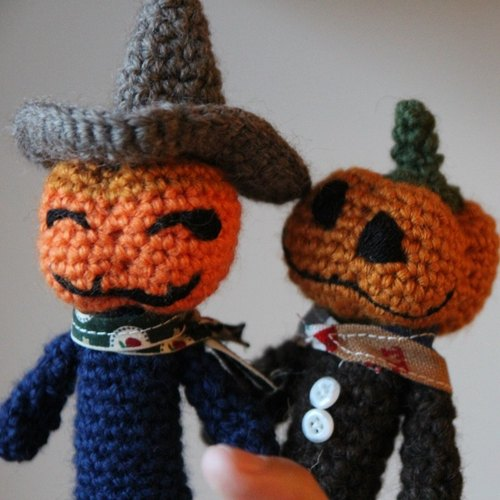 Amigurumi crochet doll: Finger doll, Toucan, Story time doll, pumpkin man
