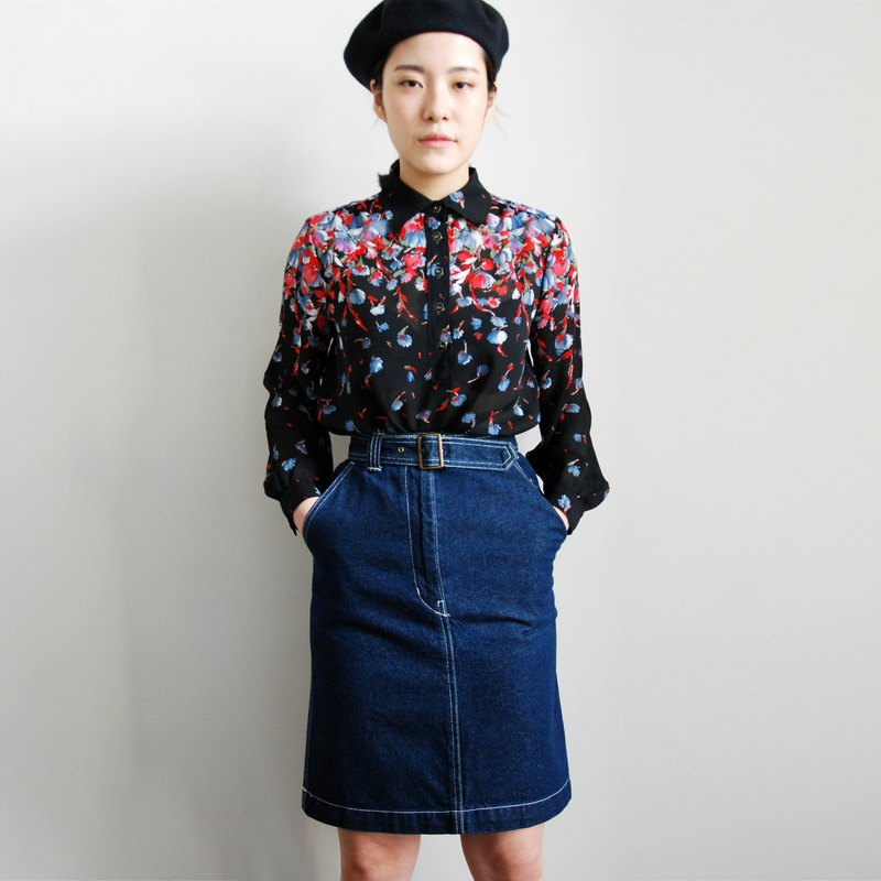Pumpkin Vintage. Ancient high waist denim skirt