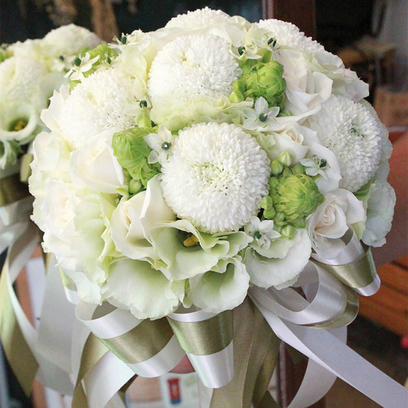 Flowers - [Combination] Exquisite Flower Bouquet & Corsage White Green B-WG03