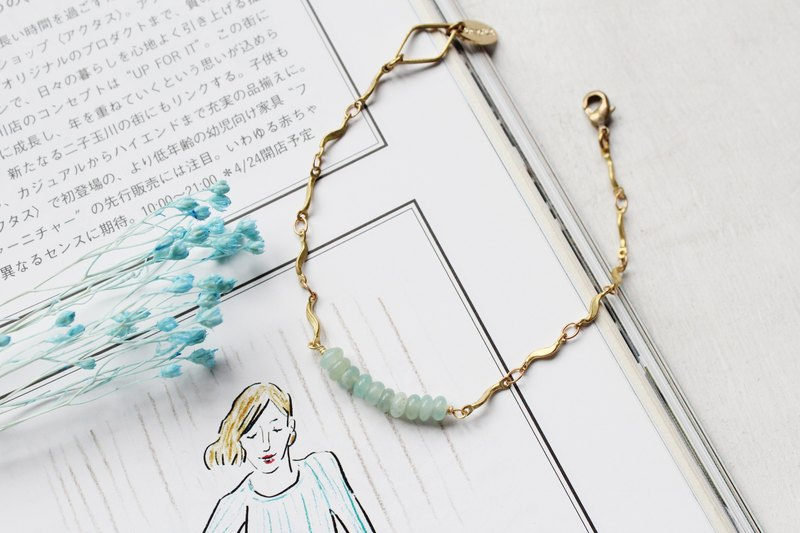 Amazonston amazonite rice smile series Brass Bracelet