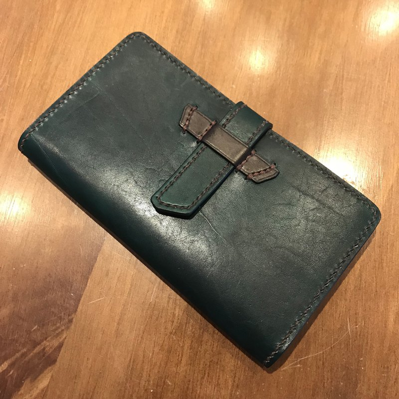 Handmade hand-dyed leather long wallet with purse