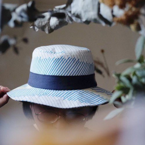 Japanese fabric white yellow blue oblique striped handmade fisherman hat
