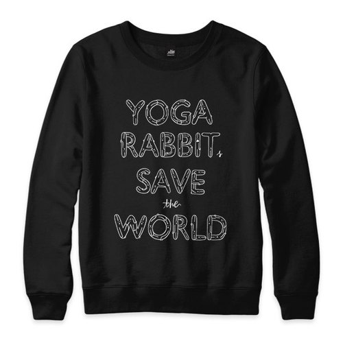 YOGA RABBITS SAVE the WORLD - black - neutral version University T