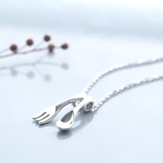 Miniature Spoon & Fork Necklace 925 Silver