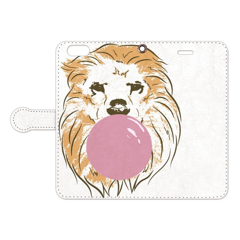 [Notebook type iPhone case] bubble gum / Lion