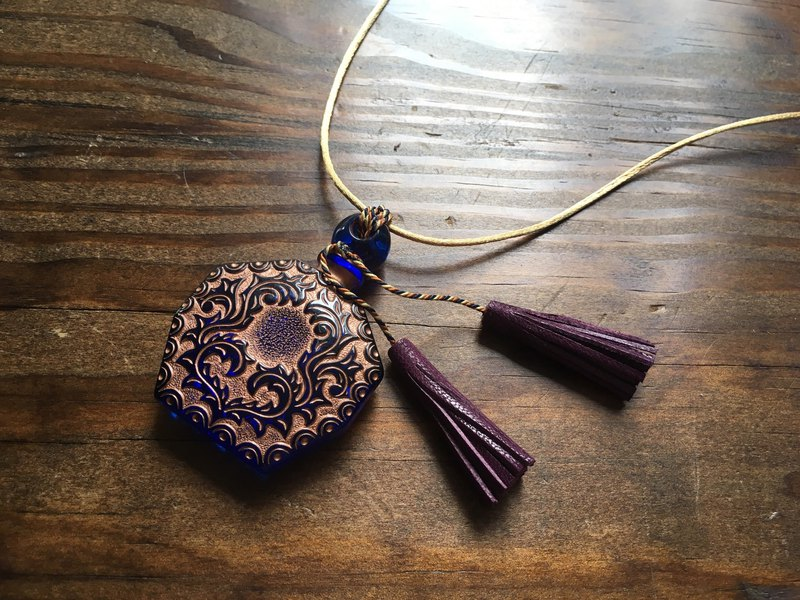 Vintage glass and French goat leather tassel pendant blue with gold color
