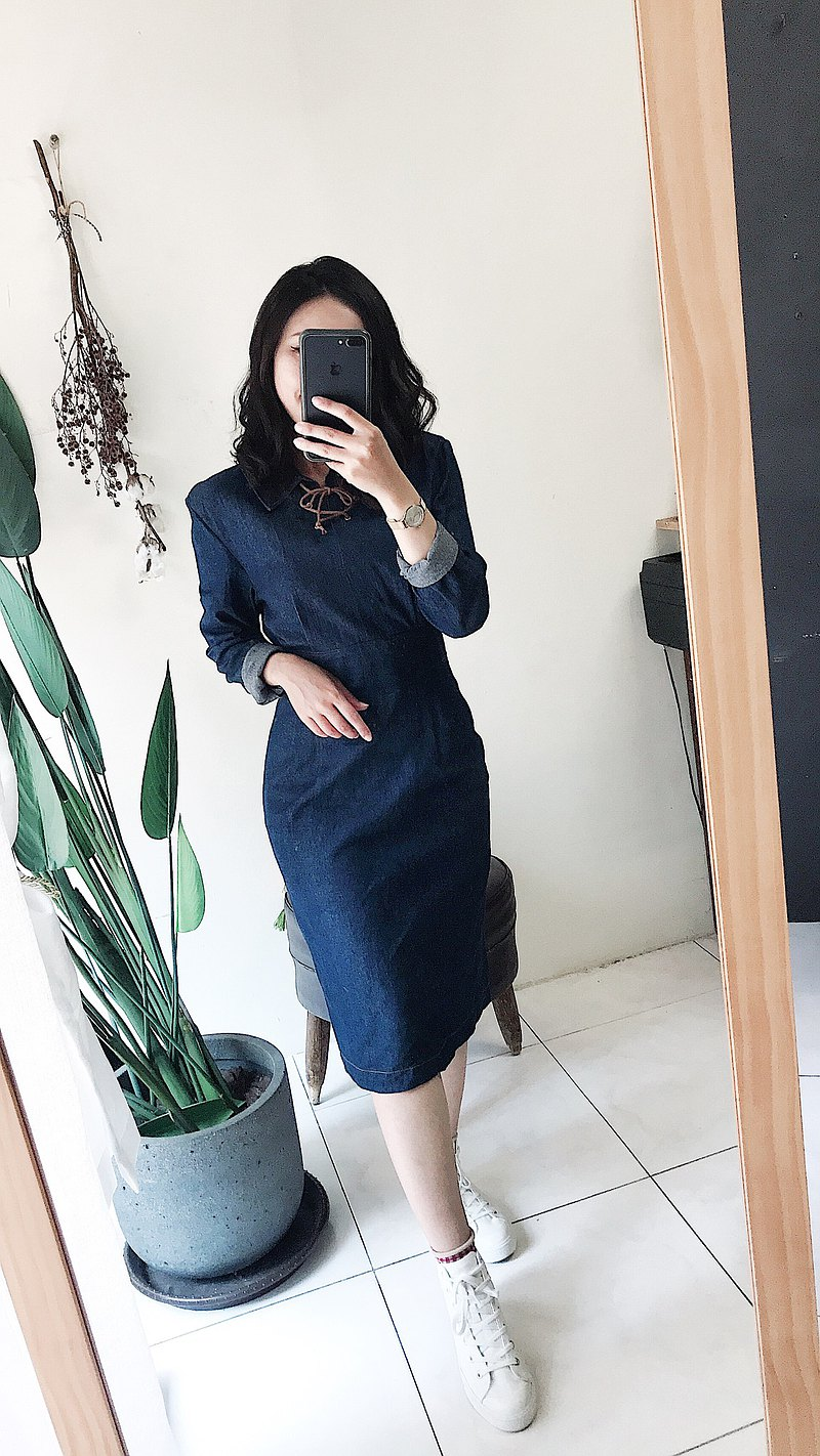 River Water Mountain-Niigata Indigo Tie Rope Waist Youth Time Antique One-Piece Denim Dress Dress