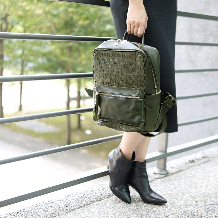 Staff hand-made hand-stitched leather woven square backpack Made in Japan by Robita